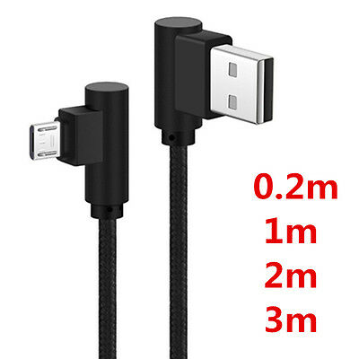 0.2m 1m 2m 3m Nylon Braided Micro USB Angled Fast Data Sync Charger Cable Cord