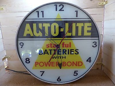 "Restored Auto-Lite ""staful"" Batteries Lighted Lackner Advertising Clock Sign Pam"