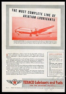1947 Lockheed Constitution plane Texaco oil aviation fuel vintage print ad