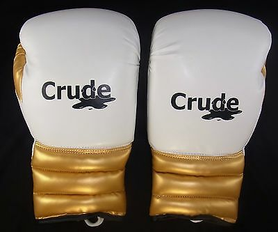 White/Gold Boxing Gloves (Lace Up) Made from Pro grade Material by Crude Boxing
