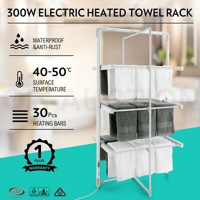300W 3-Tier Electric Heated Towel Rack Clothes Rail Hanger Laundry Arier Dryer