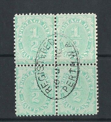 1907 Australia postage due 1/2d SG 45w inverted wmk block four nice CDS
