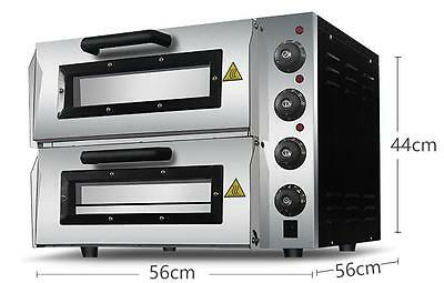 "220V 16"" Double Electric Pizza Oven Commercial Ceramic Stone"