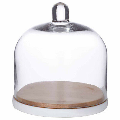 Davis & Waddell Bamboo Serving Plate And Glass Dome Restaurant Kitchen Delicacy