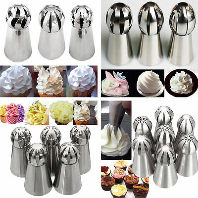 New Russian Flower Icing Piping Nozzles Tips Pastry Cupcake Cake Decor Sphere