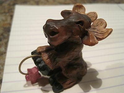 ADORABLE Star on Hoop MOOSE Rustic Lodge Log Cabin Home Decor Faux wood carved