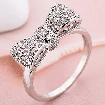 Women Fashion 925 Silver White Sapphire Bow Ring Wedding Engagement Jewelry