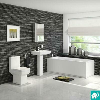 Bathroom Suite Pedestal Basin Sink Close Coupled Toilet & Straight Bath Bathtub