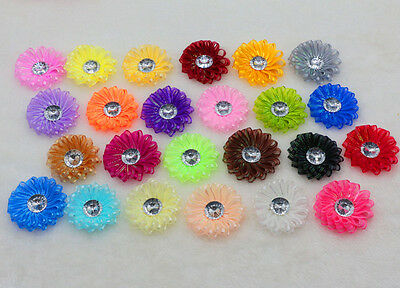 5-25-50 DIY Satin Ribbon flowers Crystal Bead Appliques/Craft/Wedding Decoration