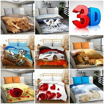 3D Bedding Sets Cars Animals Roses Lions Panthers Horses Duvet Cover Sport Car