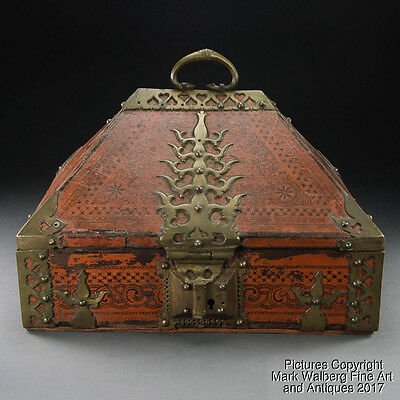 India Indian Malabar Lacquer Wood Box Kerala with Brass Fitting, 18/19th Century