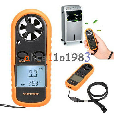 Mini LCD Wind Speed Gauge Air Velocity Meter Digital Anemometer NTC Thermometer