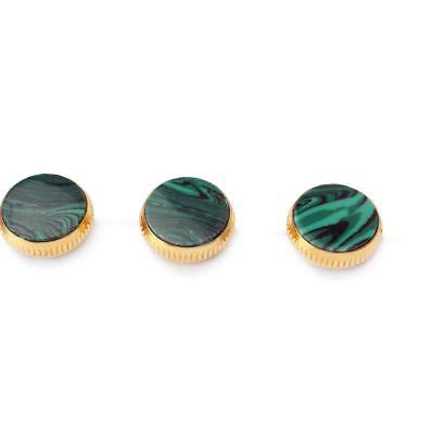 3pcs Gold Plated Malachite Insert Finger Buttons for Trumpet Repairing Parts