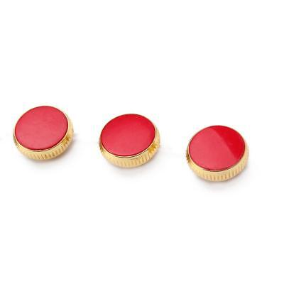 3pcs Gold Plated Red Stone Insert Finger Buttons for Trumpet Repairing Parts