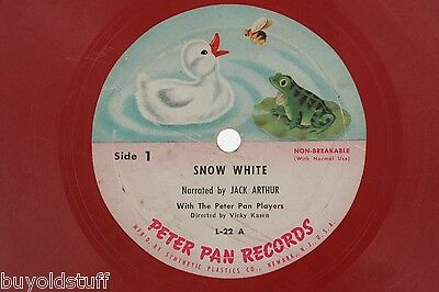 Vintage SNOW WHITE Red PETER PAN Children's RECORD 78 RPM Jack Arthur