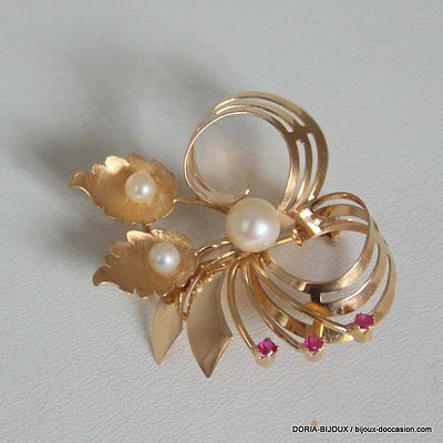 Broche Vintage Or 18k, 750/000 Perle 7.8grs - Bijoux occasion