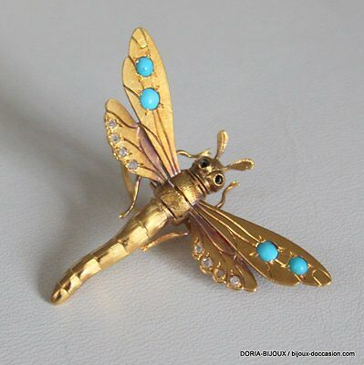 Broche Or Libelulle 18k, 750/000 Turquoise 5.4 Grs - Bijoux occasion