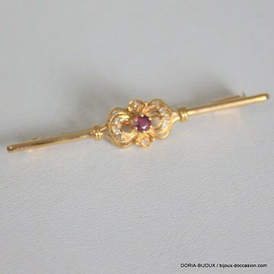 Broche Vintage Or 18k 750/000 Rubis Diamants 3.6grs - Bijoux occasion