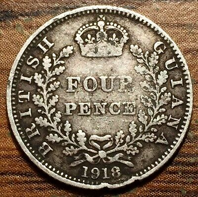 1918 Silver British Guiana 4 Pence King George V Coin