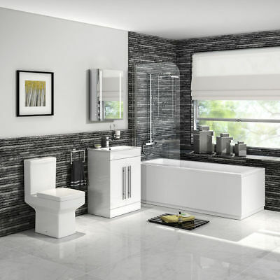 Modern Bathroom Furniture Vanity Unit Straight Shower Bath Close Coupled Toilet