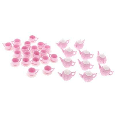 30 Pieces Dollhouse Miniature Pink Plastic Tea Pot Doll Mini Cup Teapot Set