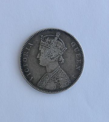 1862 Silver INDIA One Rupee Coin