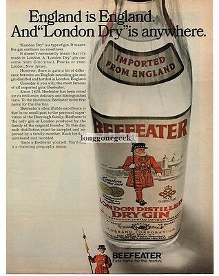 1968 BEEFEATER Gin London Dry is anywhere Vtg Print Ad