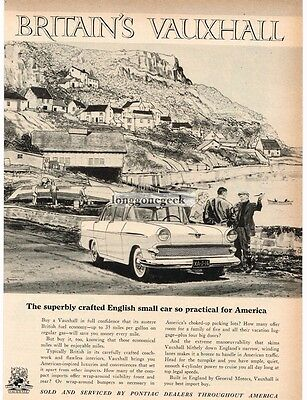 1959 Vauxhall VICTOR At The Seaside art VTG PRINT AD