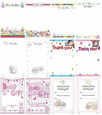 THANK YOU Notes Sheets & Envelopes - Range of Designs Boy Male Girl Female Cards