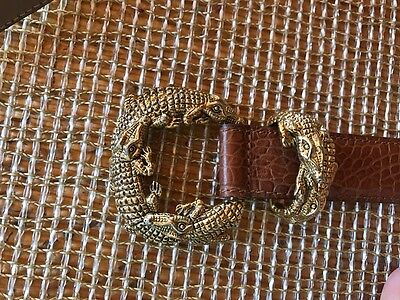 GORGEOUS VINTAGE BELT Brown GOLD ALLIGATOR CROCODILE BUCKLE TALBOTS Sz small