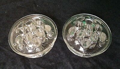 """Pair Of Vintage Glass 11 Hole Floral Flower Frogs--3 1/2"""" Diameter"""