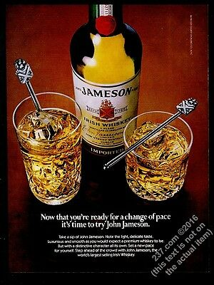 1982 Jameson Irish Whiskey bottle highball rocks photo vintage print ad