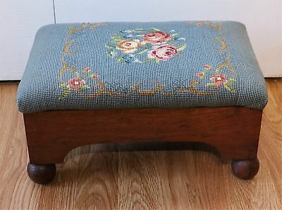 Antique Victorian Flowers Needlepoint Foot Stool  Wood