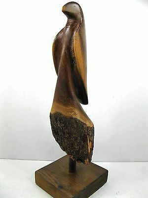 Hand Carved Wood Bird from Stump Log Primitive Rustic Folk Art / Stampinsisters