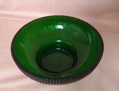 Vintage Green Hoosier Ribbed Glass Bowl Or Nut Or Candy Dish #4054