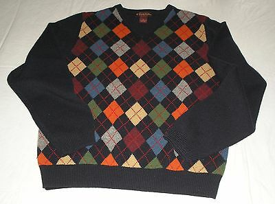 Genuine Brooks Brothers 1818 Ls 100% Lambswool Navy Blue Preppy Argyle Sweater L