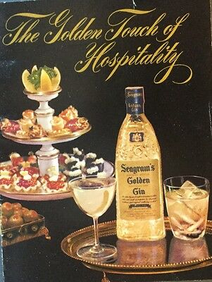 Vintage Seagram's Golden Gin Appetizer&cocktail Recipe Booklet Mid-Century Party