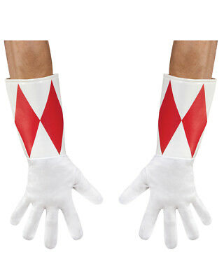 Adults Red Mighty Morphin Power Ranger Gloves Costume Accessory