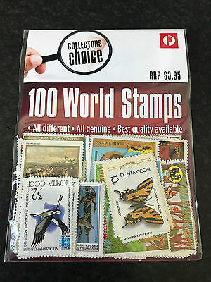 Australia Post Collectors Choice 100 Assorted Post Marked World Stamps Pack