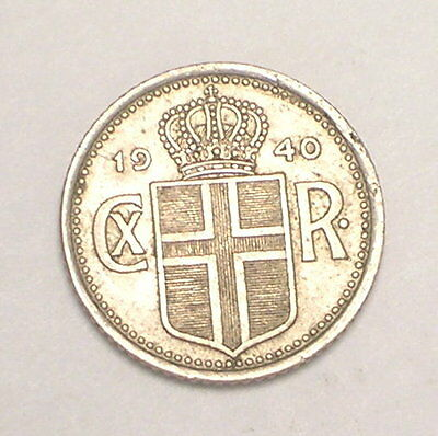 1940 Iceland Icelandic 10 Aurar Coat of Arms Coin VF+