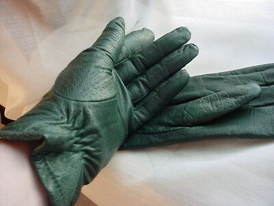 Vtg Ladies Green Leather Fashion Gloves by Grandoe size 7 Lined