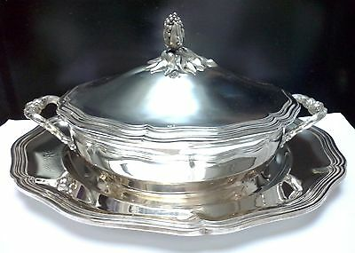 Antique French Christofle MALMAISON Silver Tureen and Cover with Présentoire