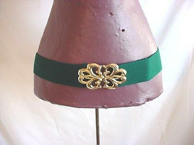 Vtg Elastic Stretch Belt Gold Tone Clasp Green New Old Stock One Size