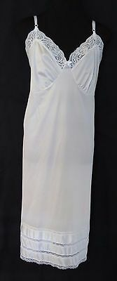 White Full Slip Size 42 By Adonna 3 Rows of Lace Hem Bodice Trim Lace