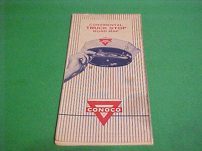 1959 Continental Truck Stop Road Map Conoco Advertisement