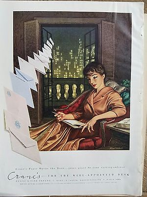 1959 Cranes fine papers envelopes writing stationery letter Nat white art ad