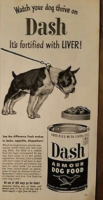1949 Armour Dash dog food fortified with liver Boston Terrier dog ad