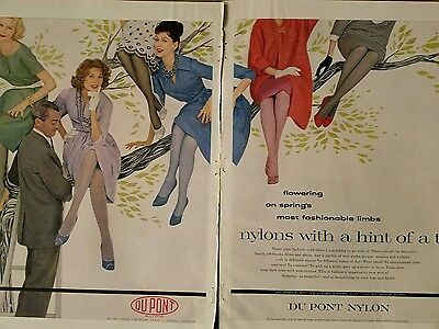 1959 women's Dupont nylon stockings hosiery legs in tree color AD