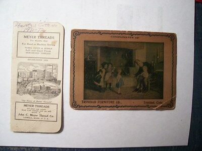 2 Items-Trinida Furniture Co. Colo., 1911 With Needles & Meyer Threads Lowell Ma