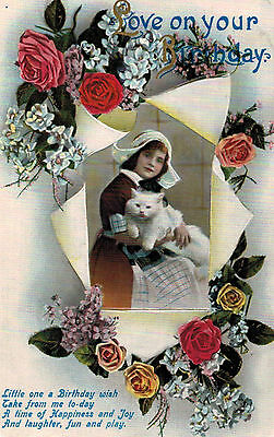 """Vintage Embossed,Postcard,Dutch Girl,White Cat,""""Love on Your Birthday"""",Used,1913"""